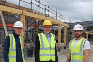 Llyr Gruffydd AM with local apprentices Jonathan Edwards and Dan Binnersley.