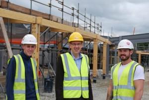 Llyr Gruffydd AM with local apprentices Jonathan Edwards and Dan Binnersley.